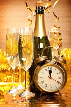 celebrating New year with champagne